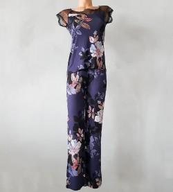 Pyjama imprimé floral et plumetis GRIS