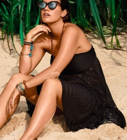 Robe bandeau / Jupe de plage Maya NOIR