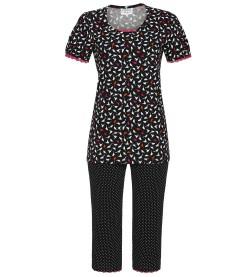 Pyjama en coton imprimé oiseaux NOIR/ROSE