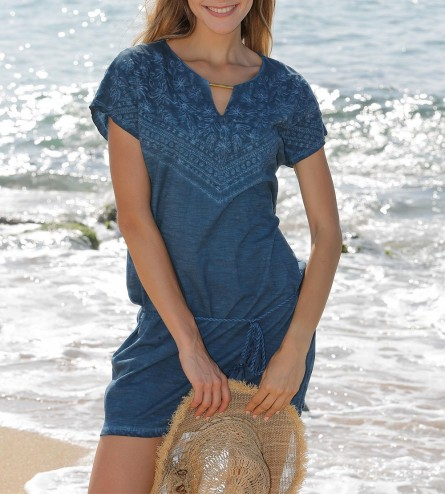 Robe jeans manches courtes