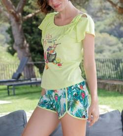 Pyjama court imprimé pour femme ANIS