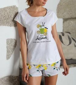 Pyjama court Limonade pour femme BLANC