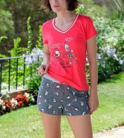 Pyjama court oiseaux pour femme ROUGE