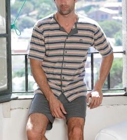 Pyjama entièrement boutonné homme GRIS/BLEU