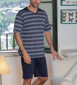 Pyjama court rayé pour homme BLEU