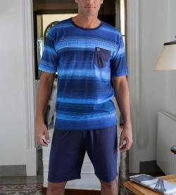 Pyjama short rayé pour homme BLEU