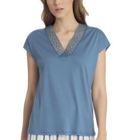 T-shirt manches courtes pour femme BLEU