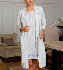 Robe de chambre croisée pour femme GRIS