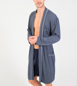 Robe de chambre croisée pour homme BLEU