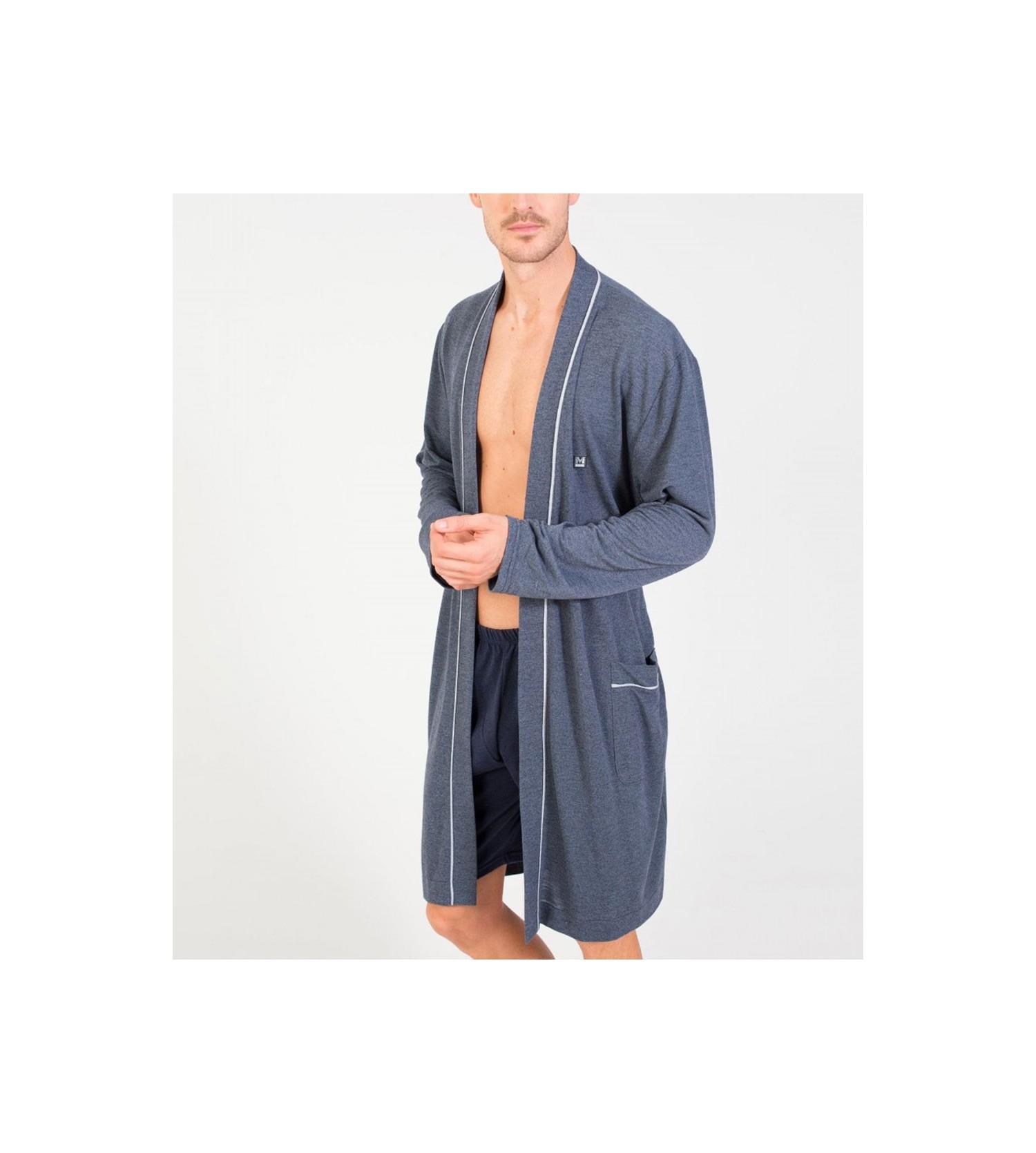 robe de chambre crois e pour homme bleu massana lingerie sipp. Black Bedroom Furniture Sets. Home Design Ideas