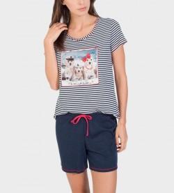 Pyjama court pour femme MARINE/BLANC