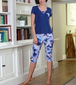 Pyjama corsaire pour femme BLEU