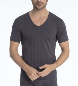 T-shirt col V Pure & Style GRIS