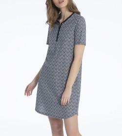 Chemise de nuit boutonnée Enya MARINE/BLANC