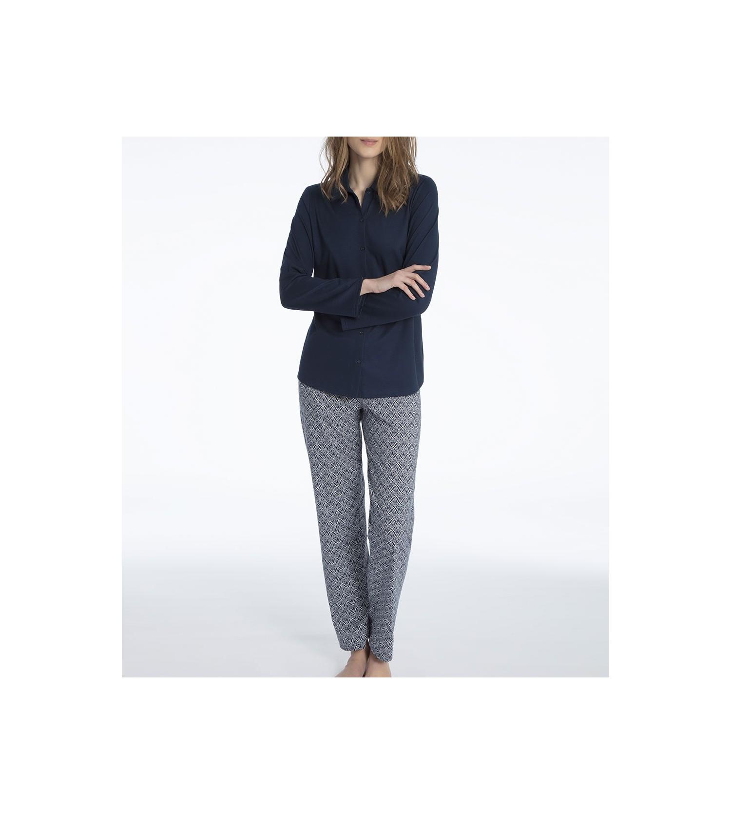 pyjama en coton pour femme enya marine calida lingerie sipp. Black Bedroom Furniture Sets. Home Design Ideas