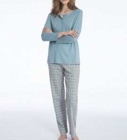 Pyjama boutonné pour femme Eleonor TURQUOISE