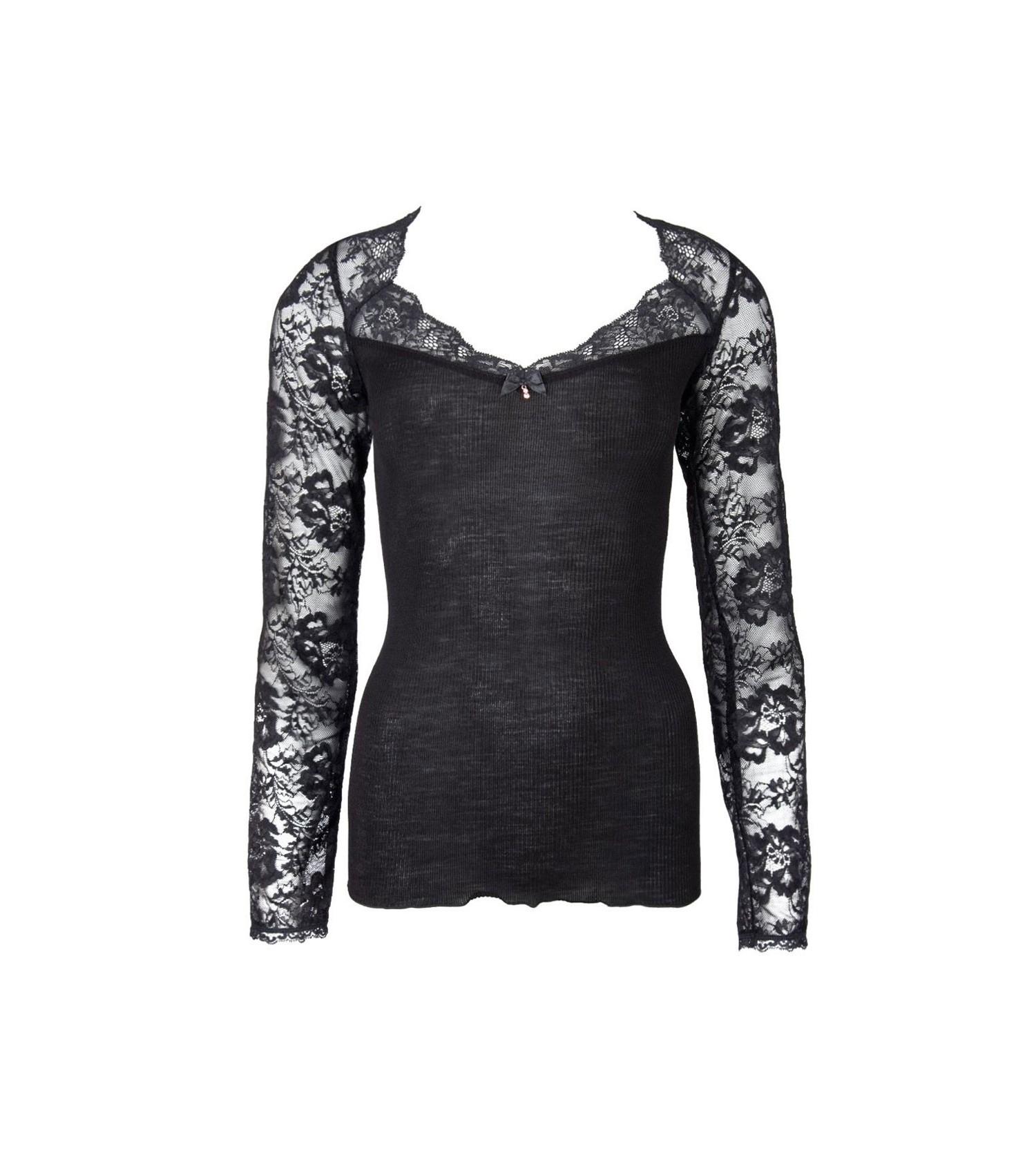 T-shirt Résille Lotus NOIR - Lingerie Sipp d1d4c4b01