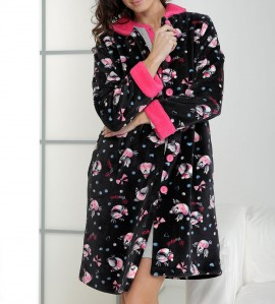 Robe de chambre imprimé pingouins NOIR/FUSHIA