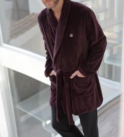Robe de chambre 3/4 pour homme BORDEAUX