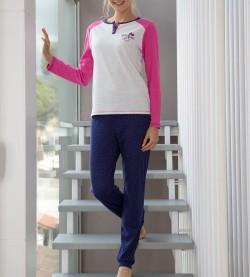 Pyjama long pour femme Hearts GRIS/ROSE