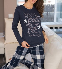 Pyjama femme étoiles & carreaux MARINE