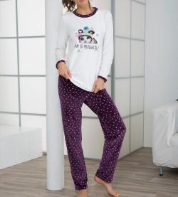 Pyjama fantaisie en éponge ECRU VIOLET