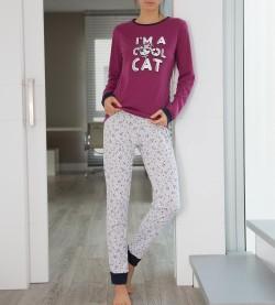Pyjama chaton pour femme GRIS VIOLET