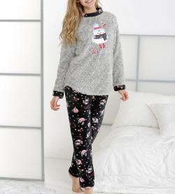 Pyjama pingouin polaire pour femme GRIS/NOIR
