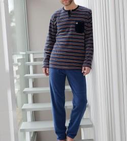 Pyjama polaire rayé pour homme GRIS