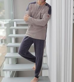 Pyjama polaire chiné pour homme BEIGE