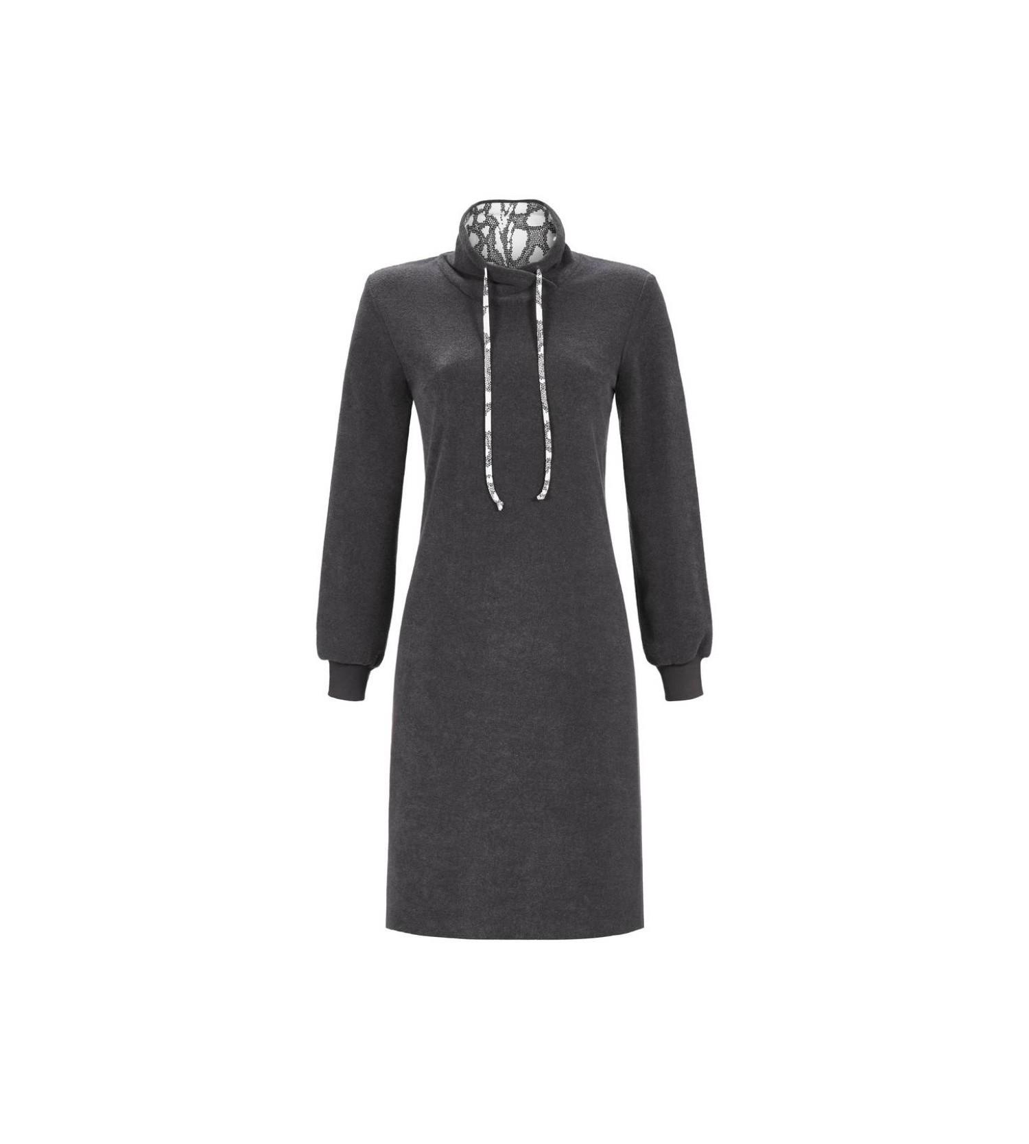 robe d 39 int rieur longue en ponge anthracite ch rie line. Black Bedroom Furniture Sets. Home Design Ideas