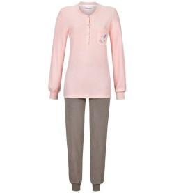 Pyjama éponge avec fleurs brodées GRIS ROSE