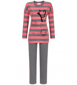 Pyjama à rayures motif café GRIS CORAIL