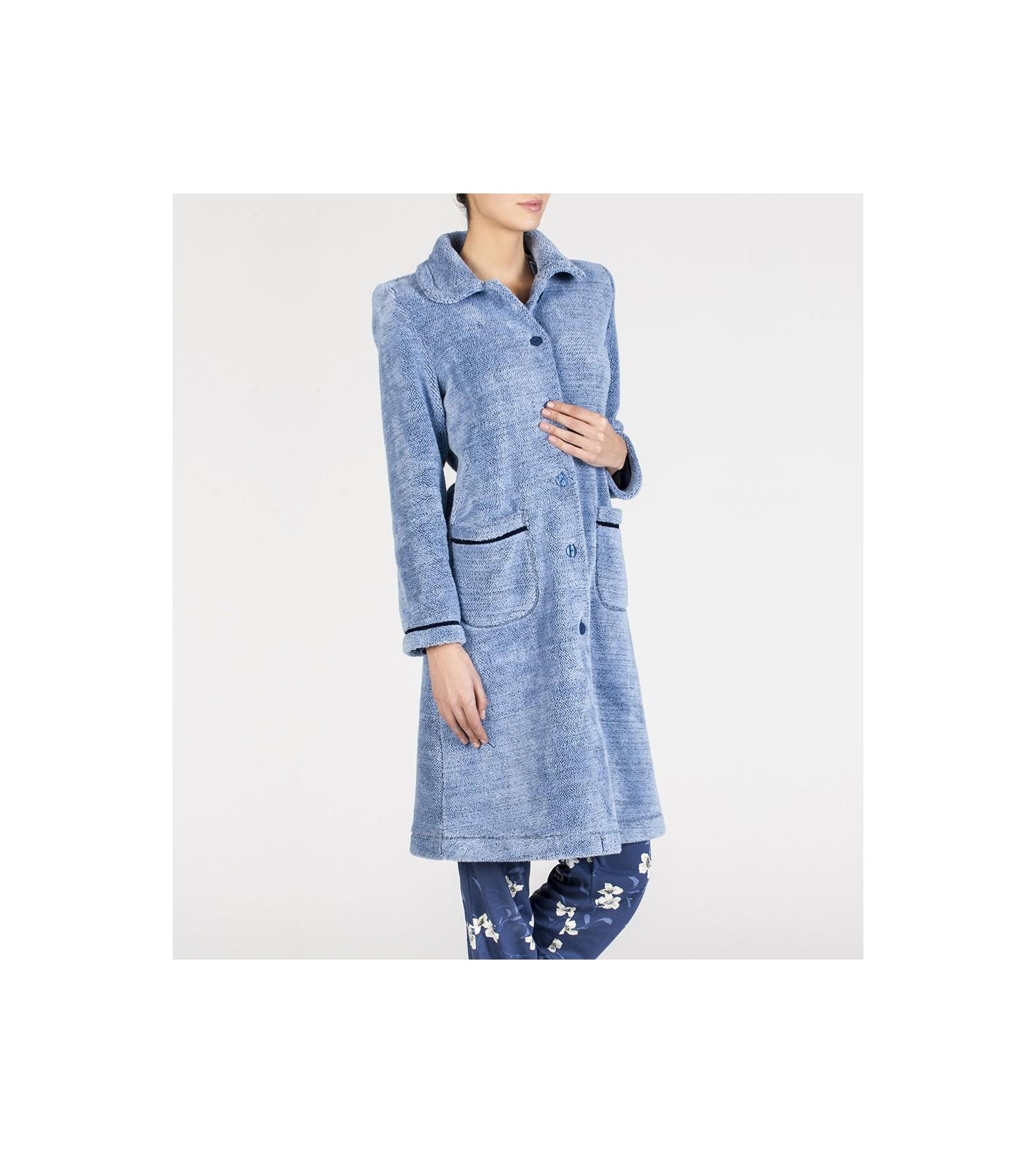 Robe de chambre boutonn e femme bleu egatex lingerie sipp - Robes de chambre de marque ...