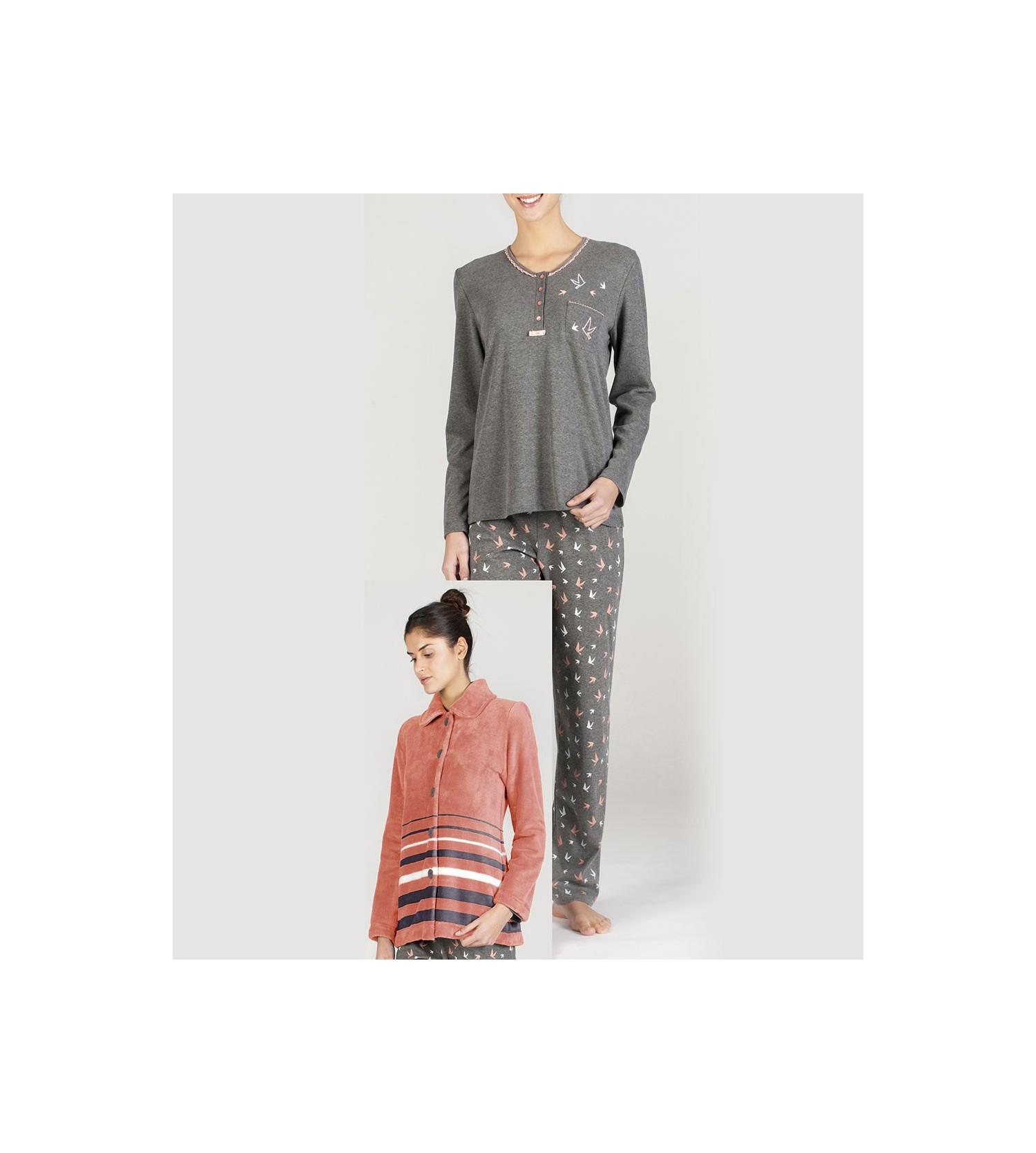 Ensemble pyjama pour femme 3 pièces GRIS Egatex  2cd57ad9359