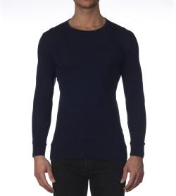 T-shirt manches longues laine/soie BLUE DEEP