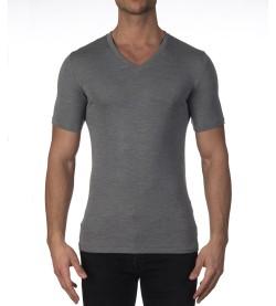 T-shirt en laine et soie pour homme GRIS