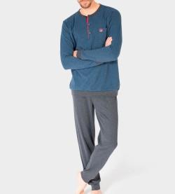 Pyjama manches longues Jacquard BLEU