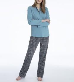 Pyjama boutonne pour femme Rahel GRIS/TURQUOISE