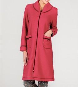 Robe de chambre zipée élégante ROUGE