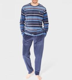 Pyjama velour rayé tricolore Homme BLEU