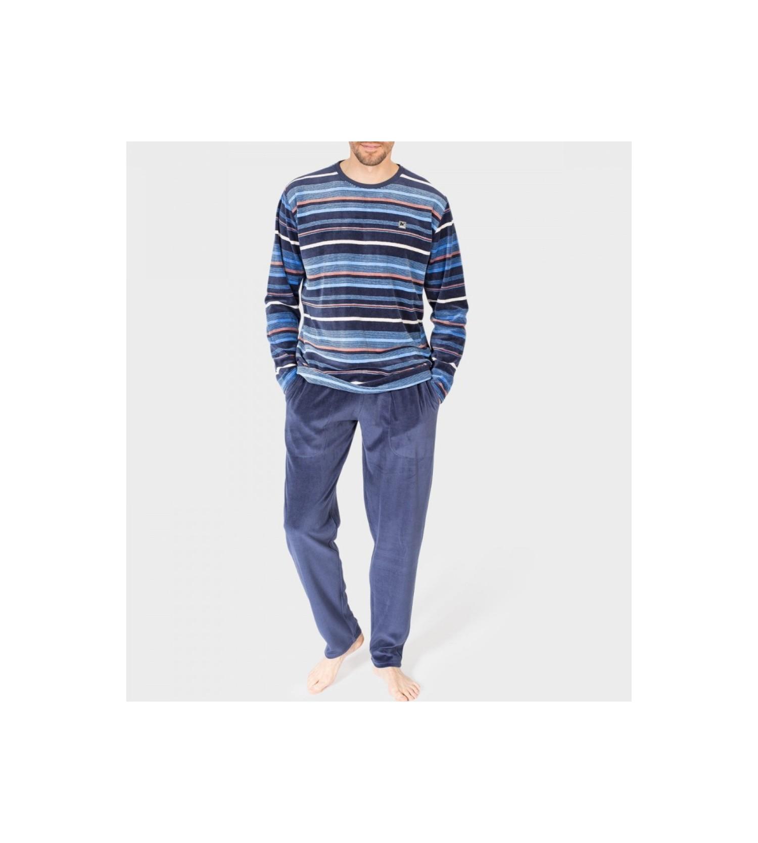 Pyjama velour rayé tricolore Homme BLEU - Lingerie Sipp c8c0317a02c