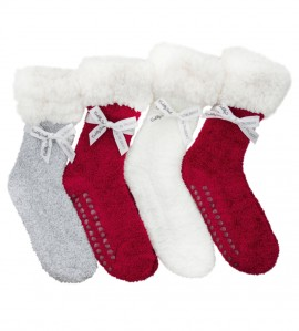 Chaussettes Winter Saga anti-glisse ROUGE