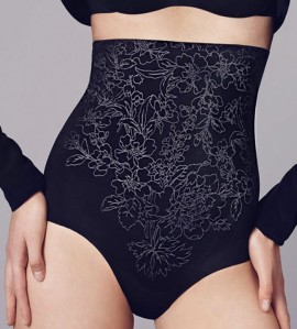 Gaine culotte haute Flower Power NOIR